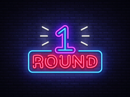 First Round ist ein Neonzeichenvektor. Boxen Runde 1 Kampf, Neon-Symbol-Design-Element Illustration Neon hell, Licht Banner. Vektor-Illustration.