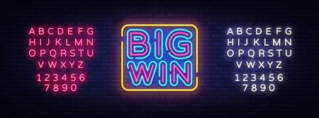Big Win neon sign vector. Big Win Design template neon sign, light banner, neon signboard, nightly bright advertising, light inscription. Vector illustration. Editing text neon sign. 스톡 콘텐츠 - 114960376