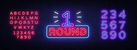 First Round is a neon sign vector. Boxing Round 1 bout, neon symbol design element Illustration neon bright, light banner. Vector Illustration. Editing text neon sign. Çizim