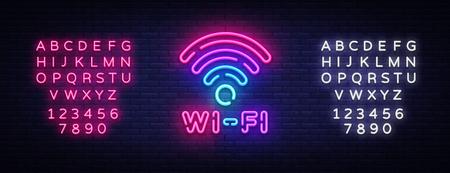 Vector de señal de neón wifi. Símbolo de wifi letras de neón que brillan intensamente, Banner de luz, texto de neón. Ilustración de vector. Cartelera. Edición de letrero de neón de texto.