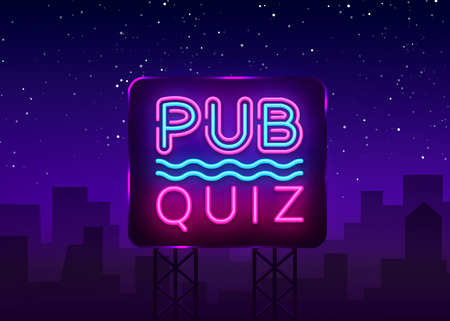 Pub Quiz night announcement poster vector design template. Quiz night neon signboard, light banner. Pub quiz held in pub or bar, night club. Questions game bright retro sign. Vector Billboard. Vettoriali