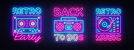 Back to 90s neon poster collection, card or invitation, design template. Retro tape recorder cassettes neon sign, gramophone symbol, light banner. Back to the 90s. Vector illustration.