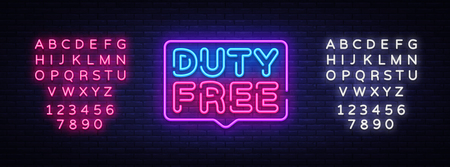 Duty Free neon sign vector. Duty Free design template neon sign, light banner, neon signboard, nightly bright advertising, light inscription. Vector illustration. Editing text neon sign. Vettoriali