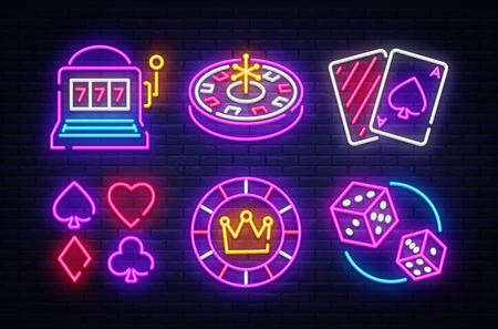 Casino neon collection vector icons. Casino Emblems and Labels, Bright Neon Sign, Slot Machine, Roulette, Poker, Dice Game. Vector illustration.