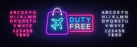 Vettore dell'insegna al neon duty free. Modello di design duty free insegna al neon, banner luminoso, insegna al neon, pubblicità luminosa notturna, scritta luminosa. Illustrazione vettoriale. Modifica dell'insegna al neon del testo.