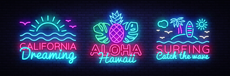 Summer neon signs collection design template. Surfing, California, Aloha neon emblems, light banner. Summer concepts design. Smartphone in hand. Vector illustration. Vetores