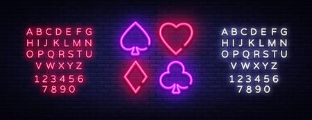 Poker Neon sign vector design template. Poker symbols neon logo, light banner design element colorful modern design trend, night bright advertising, bright sign. Vector. Editing text neon sign.