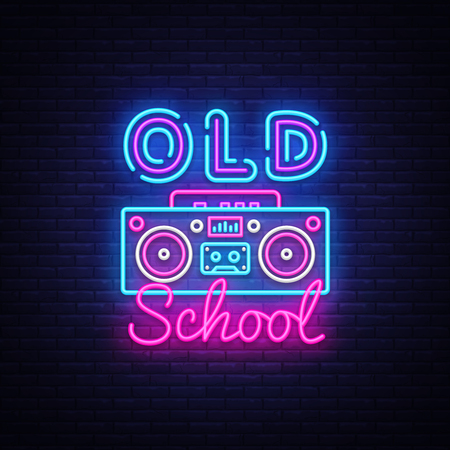 Old School neon sign vector. Retro Music Design template neon sign, Retro Style 80-90s, celebration light banner, tape recorder neon signboard, nightly bright advertising, light inscription. Vector. Иллюстрация