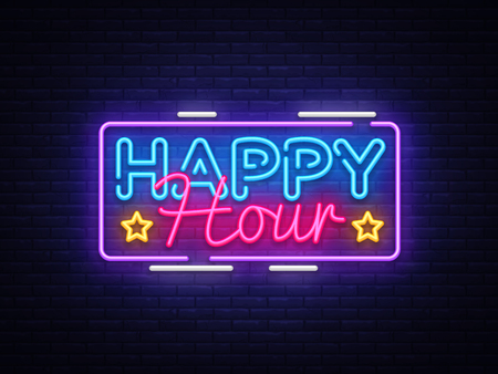 Happy Hour neon sign vector design template. Happy Hour neon logo, light banner design element colorful modern design trend, night bright advertising, brightsign. Vector illustration.