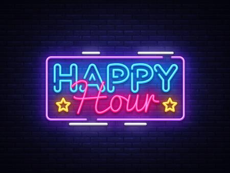 Happy Hour neon sign vector design template. Happy Hour neon logo, light banner design element colorful modern design trend, night bright advertising, brightsign. Vector illustration.