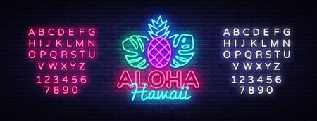 Aloha neon sign vector. Aloha Hawaii Design template neon sign, summer light banner, neon signboard, nightly bright advertising, light inscription. Vector Illustration. Editing text neon sign