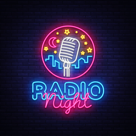 Radio Night Neon Logo Vector. Radio Night neon sign, design template, modern trend design, Radio neon signboard, night bright advertising, light banner, light art. Vector illustration