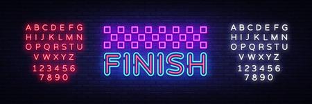 Finish neon sign vector. Finish Design template neon sign, light banner, neon signboard, nightly bright advertising, light inscription. Vector illustration. Editing text neon sign.