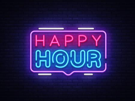 Modello di disegno vettoriale di Happy Hour insegna al neon. Logo al neon Happy Hour, elemento di design banner luminoso tendenza design moderno colorato, pubblicità luminosa notturna, segno luminoso. Illustrazione vettoriale