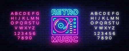 Retro Music neon sign vector. Retro Music Design template neon sign, Retro Style 80-90s, celebration light banner, gramophone neon signboard, nightly advertising. Vector. Editing text neon sign 스톡 콘텐츠 - 105170319