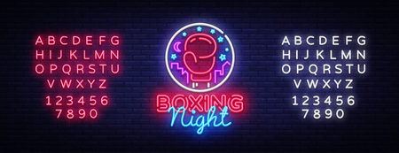 Boxing neon sign vector. Boxing Night Design template neon sign, Fight light banner, neon signboard, modern trend design, nightly bright advertising, light inscription. Vector. Editing text neon sign