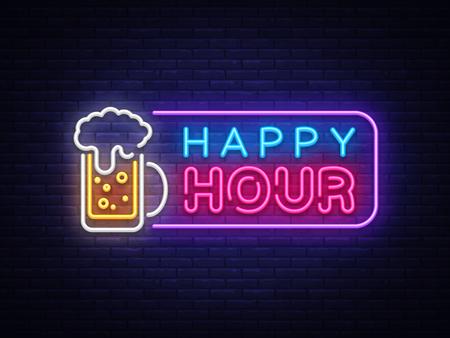 Plantilla de diseño de vector de banner de neón de Happy Hour. Texto de neón de Happy Hour, elemento de diseño de banner de luz colorida tendencia de diseño moderno, publicidad luminosa nocturna, letrero luminoso. Ilustración vectorial