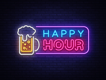 Happy Hour neon banner vector design template. Happy Hour neon text, light banner design element colorful modern design trend, night bright advertising, bright sign. Vector illustration