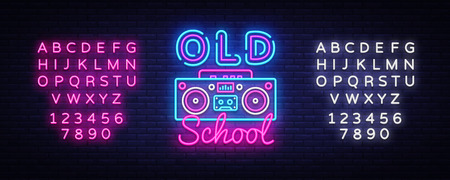 Old School neon sign vector. Retro Music Design template neon sign, Retro Style 80-90s, celebration light banner, tape recorder neon signboard, light inscription. Vector. Editing text neon sign.