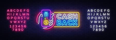 Cash Back sign vector design template. Smartphone in hand Cash Back symbols neon logo, light banner design element colorful modern design trend, bright sign. Vector. Editing text neon sign. Archivio Fotografico - 114786458