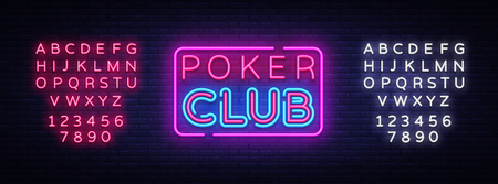 Poker Club sign vector design template. Poker Club neon logo, light banner design element colorful modern design trend, night bright advertising, bright sign. Vector. Editing text neon sign. Illustration