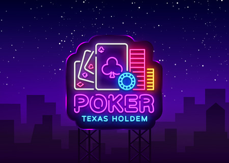 Poker neon sign design vector template. Casino Poker Texas Holdem Night Logo, Bright Neon Signboard, Design Element for Casino, Gambling Neon, Bright Night Advertising. Vector. Billboard.
