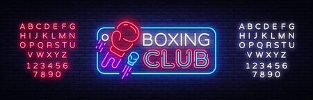 Boxing Club neon sign vector. Boxing Night Design template neon sign, Fight light banner, neon signboard, modern trend design, nightly advertising, light inscription. Vector. Editing text neon sign.