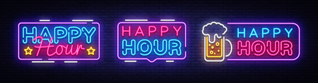 Happy Hour neon banner collection vector design template. Happy Hour neon text, light banner design element colorful modern design trend, night bright advertising, bright sign. Vector illustration. Stockfoto - 105322186