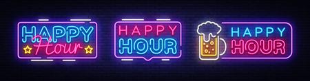 Plantilla de diseño de vector de colección de banner de neón de Happy Hour. Texto de neón de Happy Hour, elemento de diseño de banner de luz colorida tendencia de diseño moderno, publicidad luminosa nocturna, letrero luminoso. Ilustración de vector.