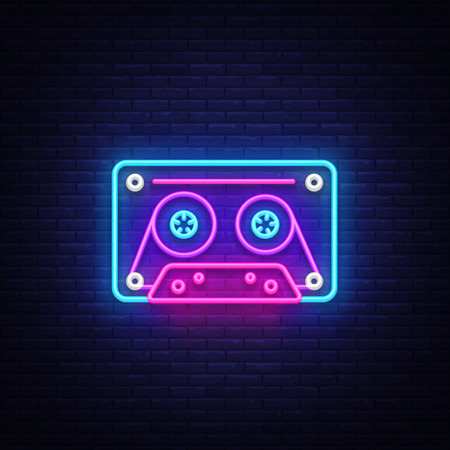 Cassetts for tape recorder neon sign vector. Retro Music Design template neon sign, Retro Style 80-90s, celebration light banner, tape recorder neon signboard, nightly bright advertising. Vector. 矢量图像