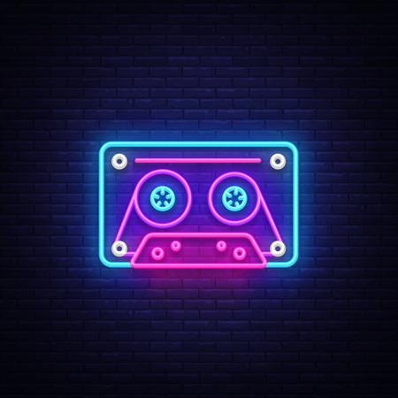 Cassetts for tape recorder neon sign vector. Retro Music Design template neon sign, Retro Style 80-90s, celebration light banner, tape recorder neon signboard, nightly bright advertising. Vector. Illustration