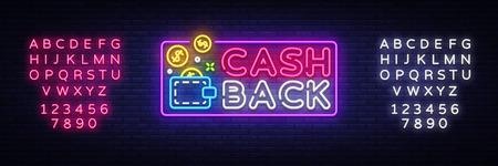Cash Back sign vector design template. Wallet Cash Back symbols neon logo, light banner design element colorful modern design trend, night advertising, bright sign. Vector. Editing text neon sign. Archivio Fotografico - 105217940