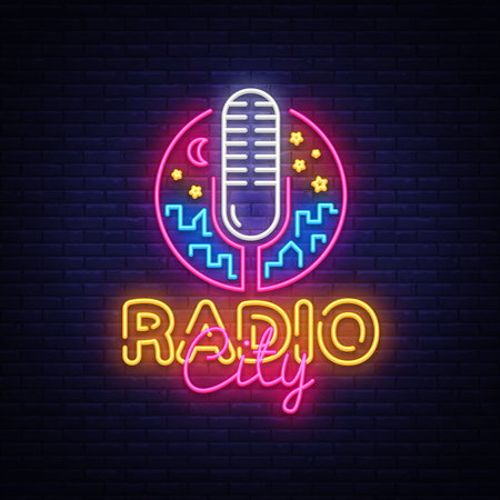 Radio Neon Logo Vector. Radio City neon sign, design template, modern trend design, night neon signboard, night bright advertising, light banner, light art. Vector illustration.