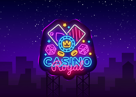 Casino Royal Neon Logo Vector. Casino neon sign, design template, modern trend design, casino neon signboard, night bright advertising, light banner, light art. Vector illustration. Billboard.