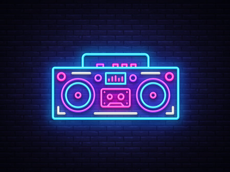 Tape recorder neon signboard vector. Retro Music neon glowing symbol, Retro Style 80-90s Light Banner, neon icon, design element. Vector illustration.