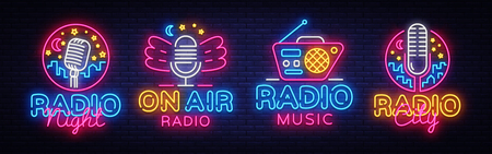 Radio Neon Sign collection Vector. Radio Night neon logos, design template, modern trend design, Radio neon signboard, night bright advertising, light banner, light art. Vector illustration. Imagens - 105421052