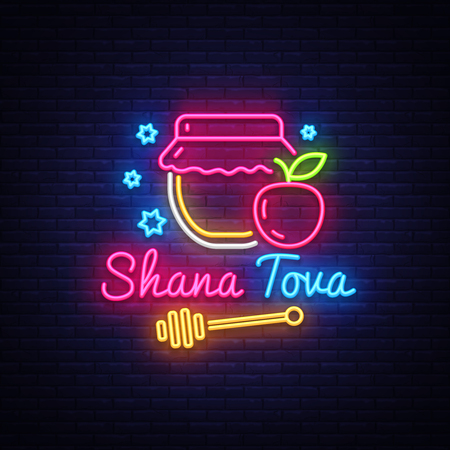 Rosh Hashanah jewish holiday neon banner design template. Happy Jewish New Year. Shana tova greeting card, neon sign, modern trend design, light banner. Vector illustration. 矢量图像