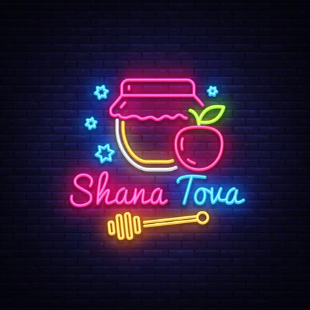 Rote Haschana-jüdische Feiertagsneonbanner-Entwurfsschablone. Frohes jüdisches neues Jahr. Shana Tova Grußkarte, Leuchtreklame, modernes Trenddesign, Lichtbanner. Vektorillustration.