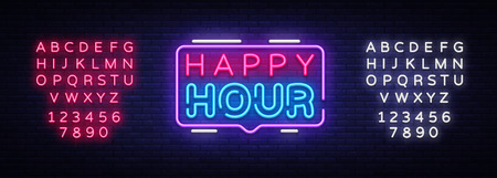 Happy Hour neon sign vector design template. Happy Hour neon logo, light banner design element colorful modern design trend, night bright advertising, brightsign. Vector. Editing text neon sign