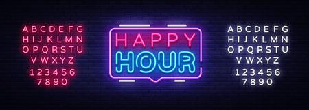 Plantilla de diseño de vector de señal de neón de Happy Hour. Logotipo de neón de Happy Hour, elemento de diseño de banner de luz colorida tendencia de diseño moderno, publicidad luminosa nocturna, brightsign. Vector. Edición de letrero de neón de texto Logos