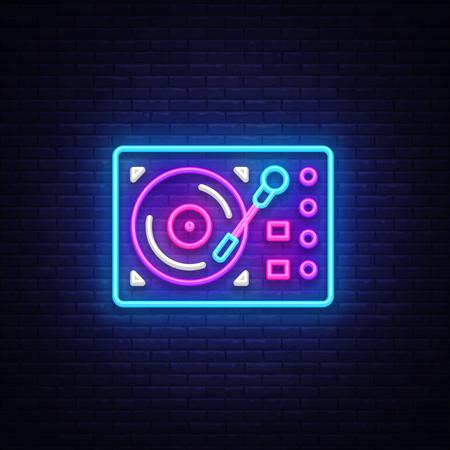 Gramophone neon signboard vector. Retro Music neon glowing symbol, Retro Style 70-80-90s Light Banner, neon icon, design element. Vector illustration.