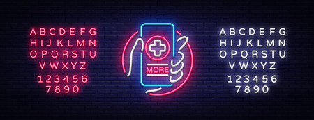 Medical Online neon sign design template. Medical Online neon emblem, light banner. Online consultation. Smartphone in hand. Vector illustration. Editing text neon sign.