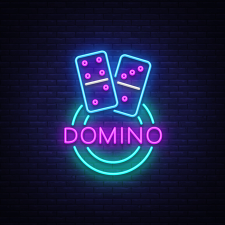 Domino Neon Logo Vector. Domino neon sign, design template, modern trend design, night neon signboard, night bright advertising, light banner, light art. Vector illustration