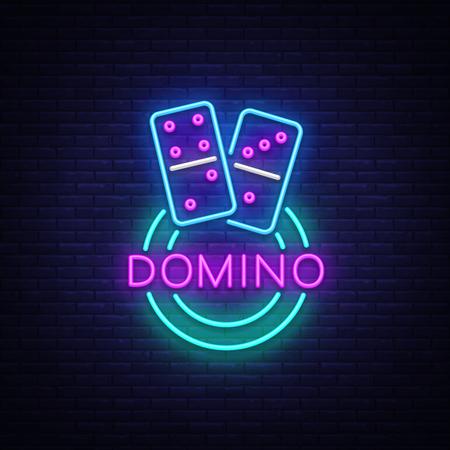 Domino Neon Logo Vector. Domino neon sign, design template, modern trend design, night neon signboard, night bright advertising, light banner, light art. Vector illustration