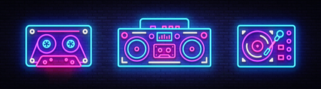 Big collection neon sing. Retro Music neon symbols design elements. Back to 80-90s light banner, modern trend design style. Bright signboard, night advertising. Vector illustration. Çizim