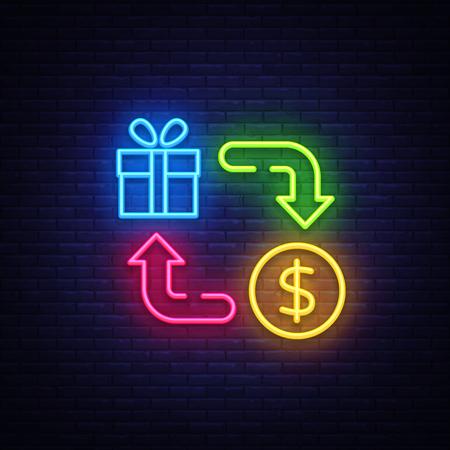 Cash Back Neon Icon Vector. Cash Back neon sign, design template, modern trend design, casino neon signboard, night bright advertising, light banner, light art. Vector illustration.