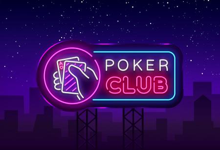 Plantilla de vector de diseño de letrero de neón de póquer. Logotipo de Casino Poker Night, letrero de neón brillante, elemento de diseño para casino, neón de juegos, publicidad nocturna brillante. Ilustración de vector. Cartelera. Logos