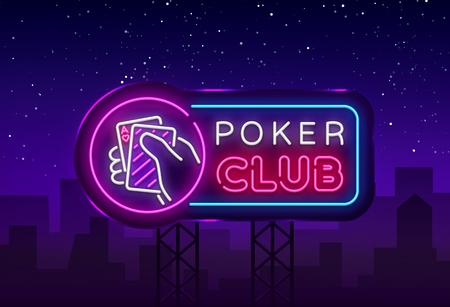 Poker neon sign design vector template. Casino Poker Night Logo, Bright Neon Signboard, Design Element for Casino, Gambling Neon, Bright Night Advertising. Vector Illustration. Billboard. 일러스트