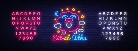 Muslim holiday Eid al-Adha holiday vector illustration. Eid al-Adha Mubarak neon sign design template, modern trend design. Graphic design decoration Kurban Bayram. Vector. Editing text neon sign Stok Fotoğraf - 105839466