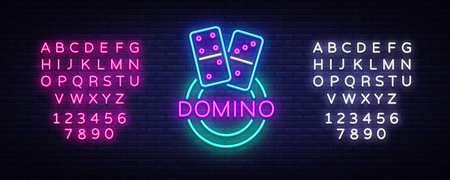 Domino Neon Logo Vector. Domino neon sign, design template, modern trend design, night neon signboard, night bright advertising, light banner, light art. Vector illustration. Editing text neon sign